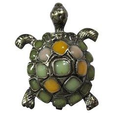 Vintage Pewter & Agate Turtle Brooch