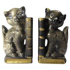 1950s Ceramic Black Cat Bookends