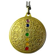 Vintage Gold Medallion Necklace With Rainbow Chakras