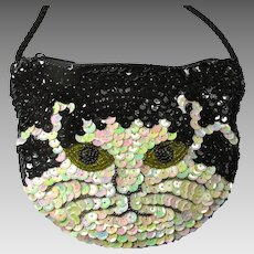 Vintage Black & White Sequinned/Beaded Cat Purse