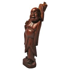 Vintage Rosewood Buddhist Monk With Lingzhi Mushroom Statue