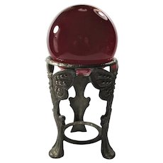 Vintage Red Crystal Ball With Art Nouveau Butterfly Stand