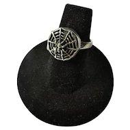SALE! Vintage Sterling Silver Spider Poison Ring Sz. 6.25