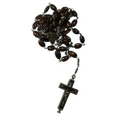 Vintage Spina Christi Rosary & Reliquary Crucifix With Earth From Roman Catacombs
