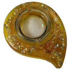 SALE! 1950s Gold Confetti Lucite Ashtray