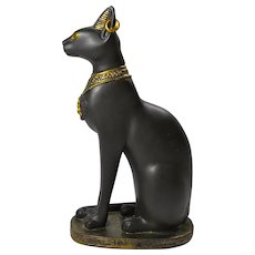 Vintage Ceramic Statue of Bast, Egyptian Cat Goddess
