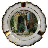Vintage Porcelain Ashtray or Trinket Dish, Brulatour Courtyard, New Orleans