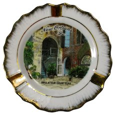 Vintage Porcelain Ashtray or Trinket Dish, Brulator Courtyard, New Orleans