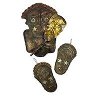 SALE! Vintage African Masks Mixed Metal Brooch & Earring Set Signed S. Koons