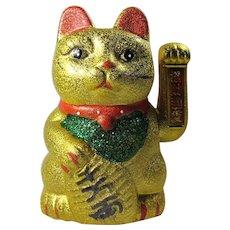 Vintage Gold Maneki-Neko Waving Lucky Cat Statue From Japan