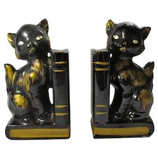 1950s Ceramic Black Cat Bookends