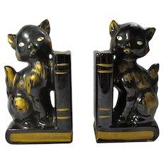 SALE! 1950s Ceramic Black Cat Bookends