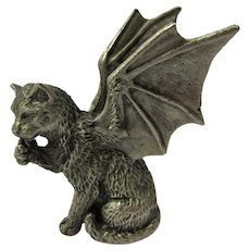 Vintage Tiny Pewter Winged Cat Statue