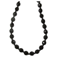 1950s Black Faceted French Jet Choker