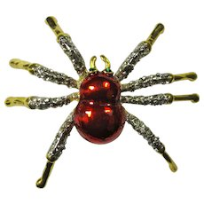 Vintage Red Enamel & Crystal Spider Brooch