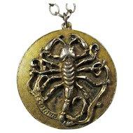 1960s Edlee Scorpio Zodiac Pendant Necklace