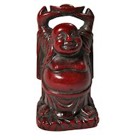 Vintage Red Resin Tiny Stretching Buddha