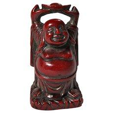 Vintage Red Resin Tiny Stretching Buddha
