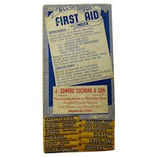 1950s J. Edward Cochran & Son Funeral Home First Aid Index