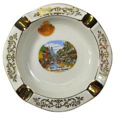 SALE! Vintage Gilt-Trimmed New Orleans Bourbon Street Ashtray or Trinket Dish