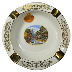 Vintage Gilt-Trimmed New Orleans Bourbon Street Ashtray or Trinket Dish