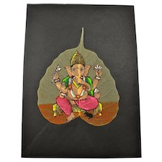 Vintage Ganesh Hindu Elephant God Pipal Leaf Painting