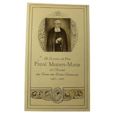 1930 Holy Card With Relic - Casket Fragment of Frère Mutien-Marie