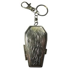 1980s Coffin-Shaped Ashtray Keychain With Belt Clip