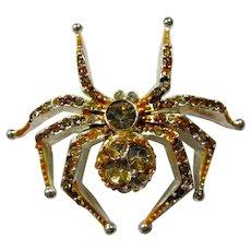 Vintage Liz Claiborne Citrine Crystal Spider Brooch
