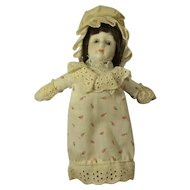 Vintage Kurt S. Adler Porcelain Girl Doll In Mob Cap & Nightgown
