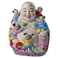 Vintage Porcelain Chinese Laughing Buddha With Five Children