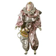 SALE! Vintage New Orleans Mardi Gras Porcelain Lady Clown Doll