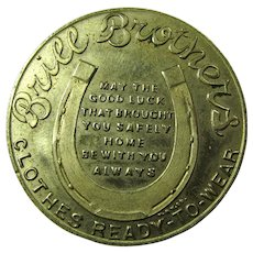 1918 WWI Brill Bros. Good Luck Victory Token