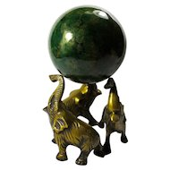 Vintage Green Agate Patterned Gazing Ball With Elephant Stand