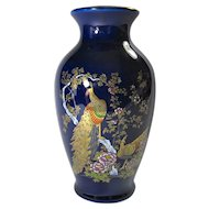 Vintage Cobalt Blue Porcelain Vase With Peacocks From Japan