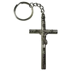 Vintage Protective Crucifix Whistle Keychain