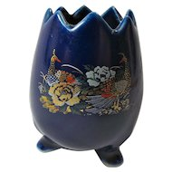 Vintage Cobalt Blue Porcelain Egg Vase With Peacocks From Japan