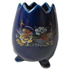 Vintage Cobalt Blue Porcelain Egg Vase With Peacocks From Japan