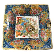 Vintage Cloisonne Porcelain Ashtray With Birds