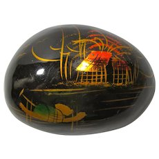 Vintage Lacquered Rock Paperweight With Chinese Painting