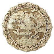 Vintage Ivory Dynasty Faux-Carved Resin Plate With Chinese Boating Scene