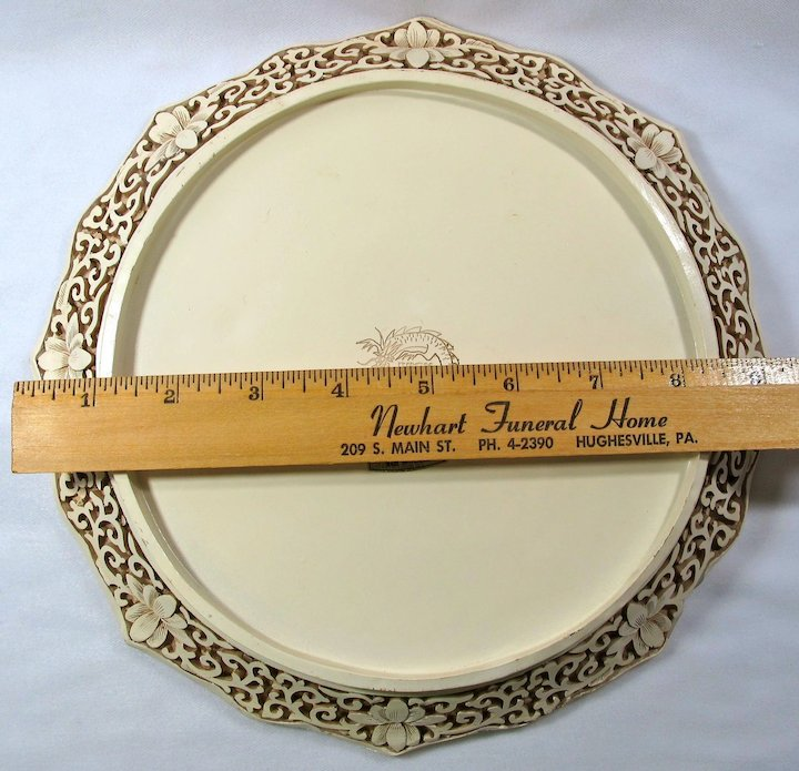 Vintage Ivory Dynasty Faux-Carved Resin Plate With Chinese Boating