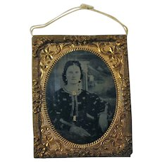 Victorian Tintype Photograph of Young Lady in Ormolu Frame
