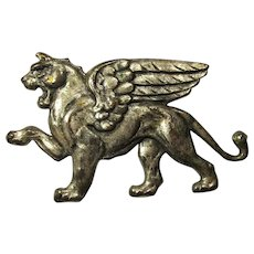 Vintage Large Pewter Winged Lion Brooch