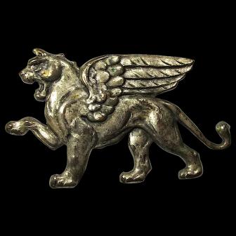 Vintage Large Pewter Winged Lion Brooch