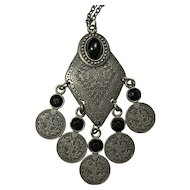 Vintage Black & Silver Berber Style Necklace