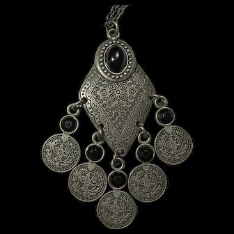 Vintage Black & Silver Berber Style Necklace