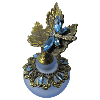 Vintage Blue Glass Perfume Bottle With Jeweled Dragonfly Stopper