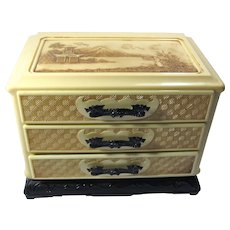 1950s 3-Drawer Celluloid Jewelry Box With Asian Motif