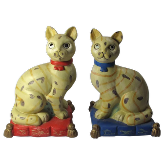 Vintage Hand-Painted Red & Blue Cat Bookends